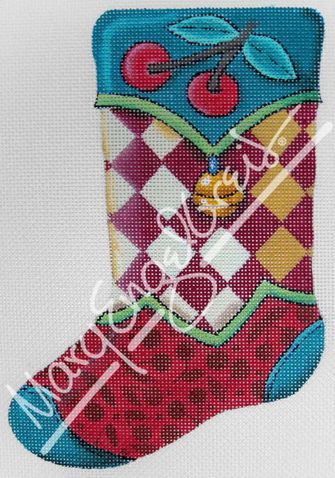 Needlepoint Canvas: Stocking Harlequin w/Bell