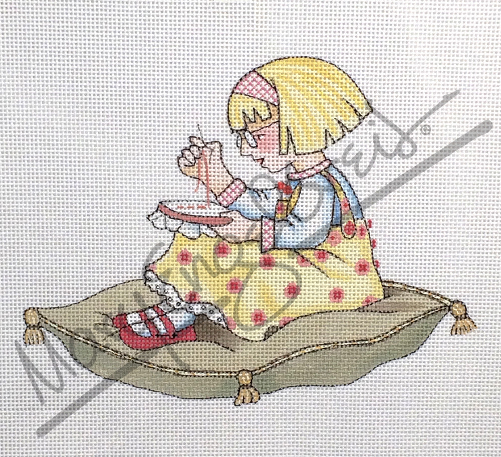 Needlepoint Canvas: Ann Estelle Sewing