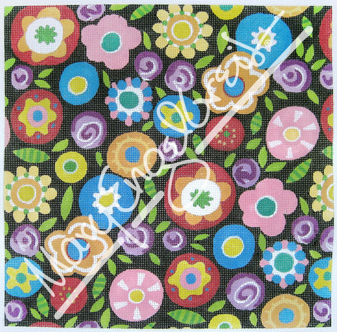 Needlepoint Canvas: Round the Garden Floral