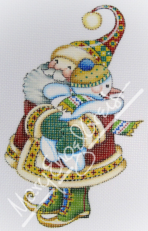 Needlepoint Canvas: Santa Hug