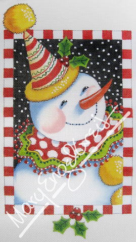 Needlepoint Canvas: Clown Snowman