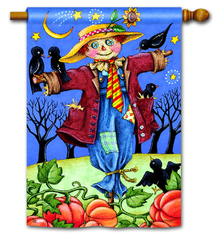 Moonlight Scarecrow Yard Flag