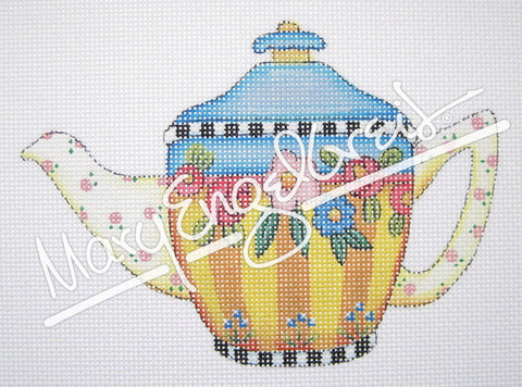 Needlepoint Canvas: Mary's Flowers Teapot