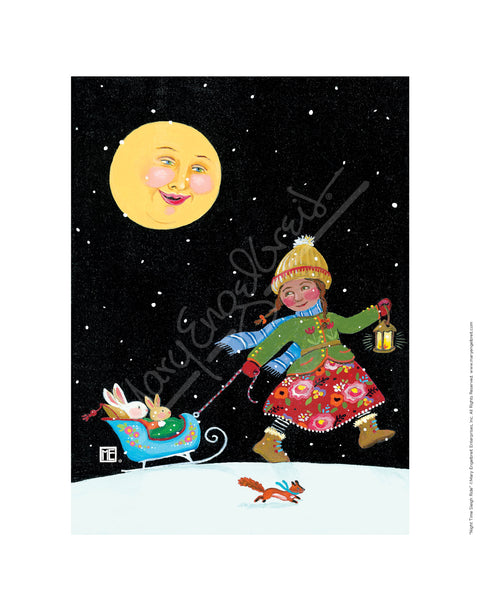 Night Time Sleigh Ride Fine Art Print