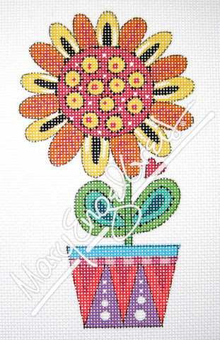 Needlepoint Canvas: Orange Daisy