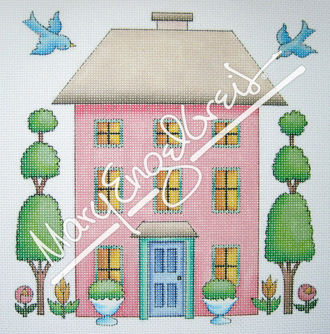 Needlepoint Canvas: Pink House
