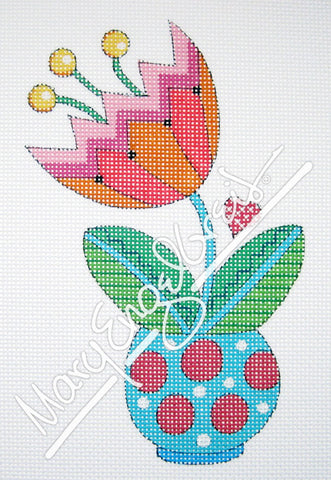 Needlepoint Canvas: Pink and Orange Tulip