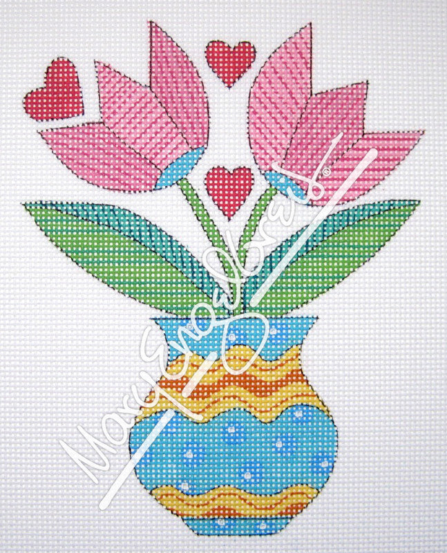 Needlepoint Canvas: Pink Tulips