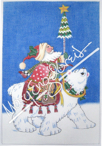 Needlepoint Canvas: Polar Santa w/ Background