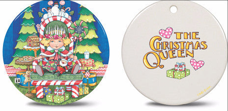 Christmas Queen Round Ceramic Ornament