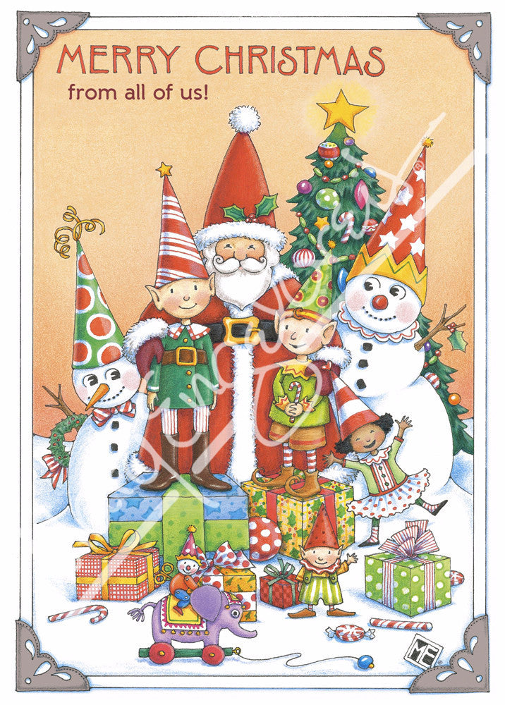 Santa and Elves Greeting Card