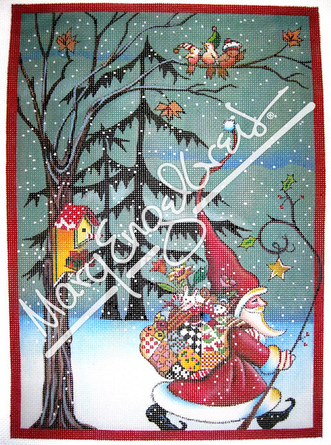Needlepoint Canvas: Santa Marches On w/ Background