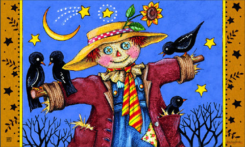Moonlight Scarecrow Welcome Mat