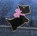 Scottie Dog Purple Bow Enamel Art Pin