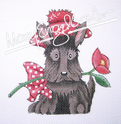 Needlepoint Canvas: Scottie with Rose