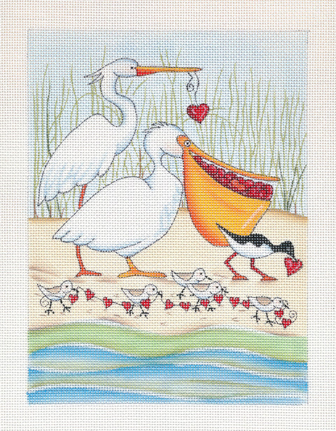 Needlepoint Canvas: Shorebird Sweethearts