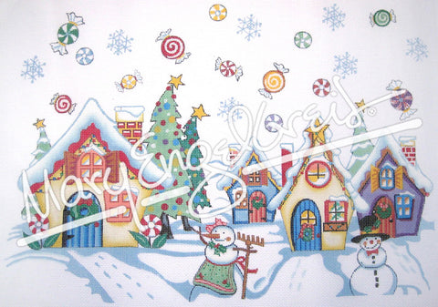Needlepoint Canvas: Snowman Village