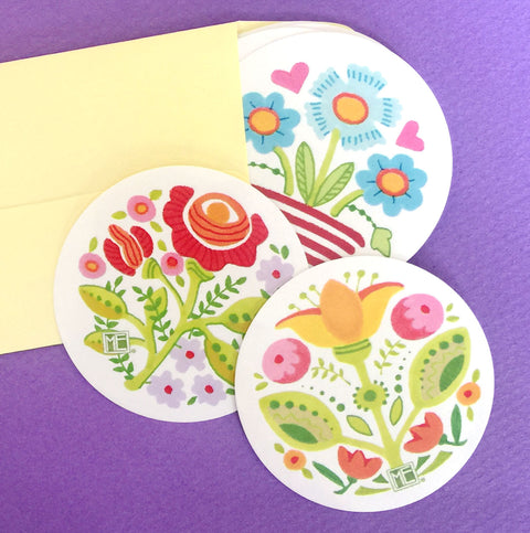 Summer Flowers Round Stickers