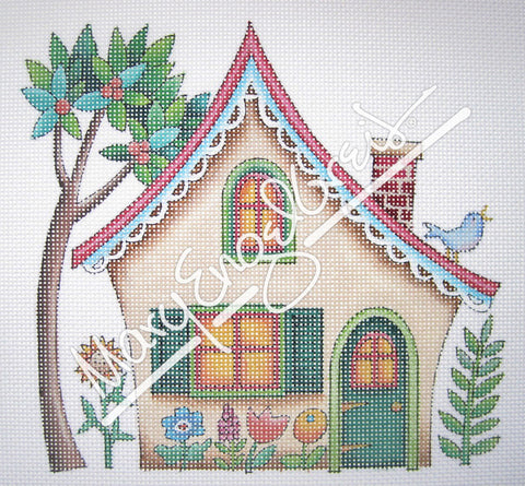 Needlepoint Canvas: Tan House