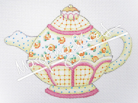 Needlepoint Canvas: Yellow Flowers Teapot