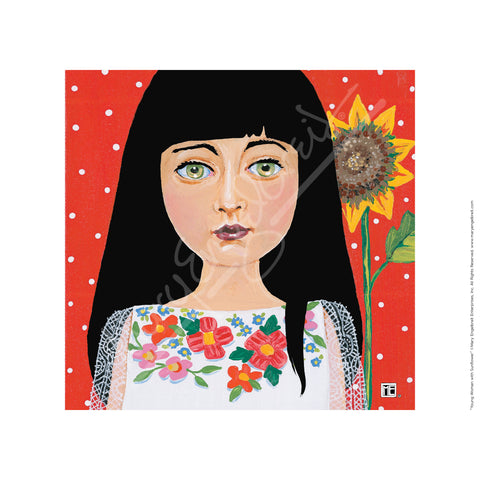 Young Woman with Sunflower Fine Art Print