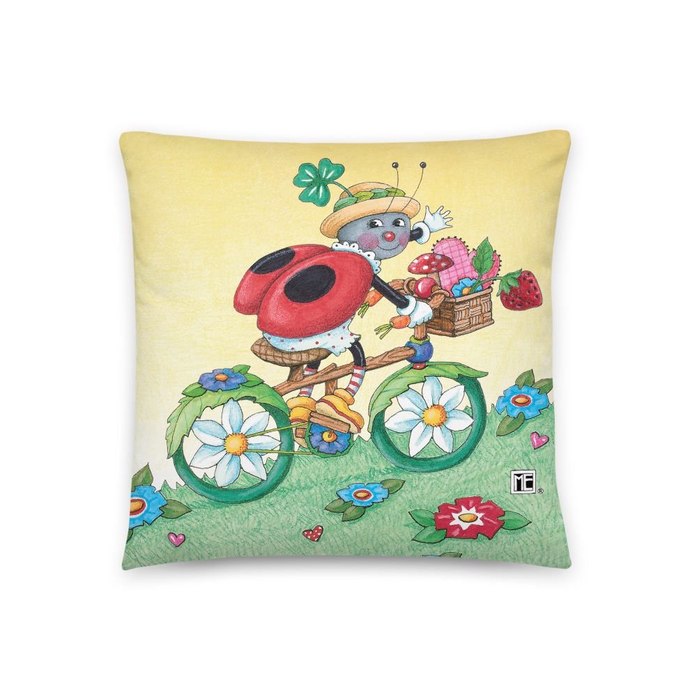 Ladybug Bike Ride Pillow