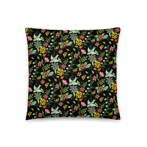 """Birds Amidst Flowers"" Pillow"
