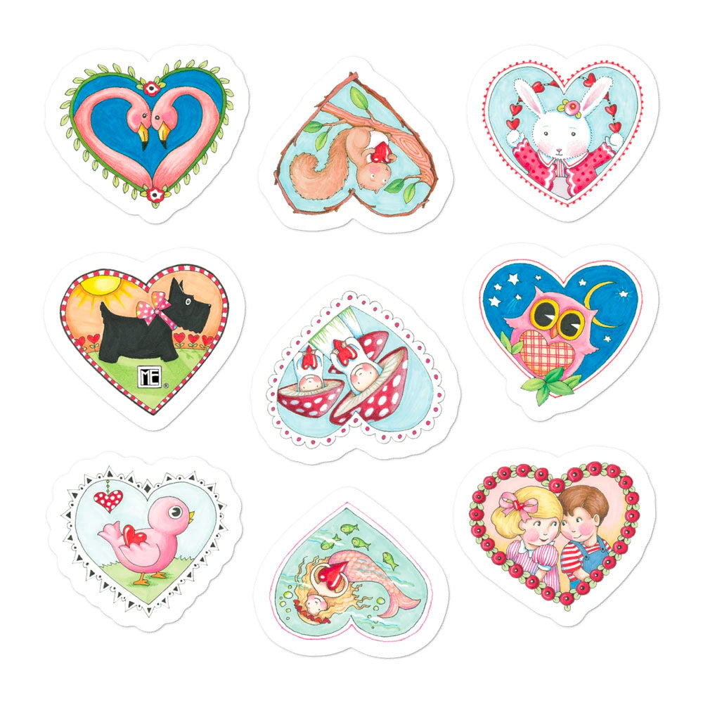 """Artsy Hearts"" Sticker Sheet"