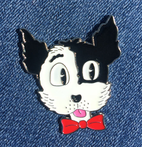 Happy Dog Enamel Art Pin