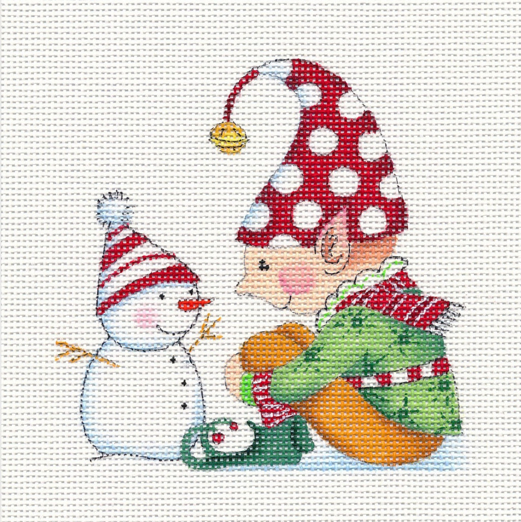 Needlepoint Canvas: Sitting Elf