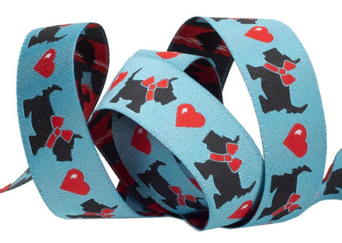 Scotties and Hearts on Blue Ribbon