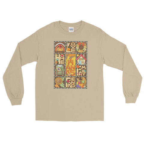 """Thanksgiving Love Home Family Friend"" Long Sleeve Shirt"