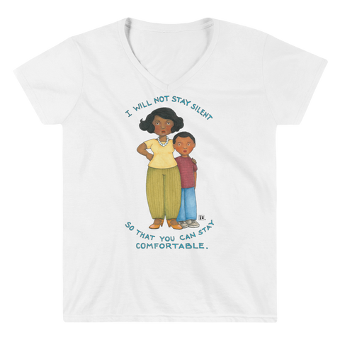"""Don't Stay Silent"" Women's V-Neck Shirt"