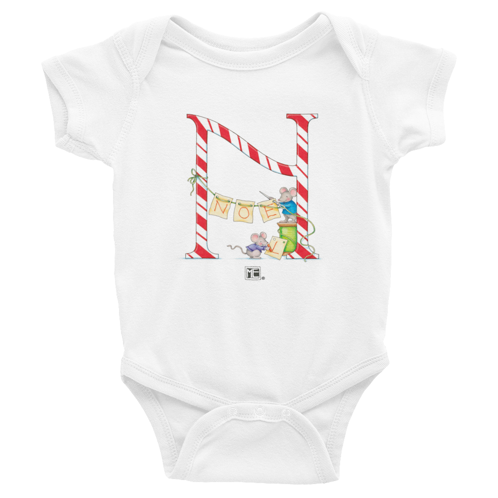 "A Merry Little Christmas ""Letter N"" Infant Bodysuit"