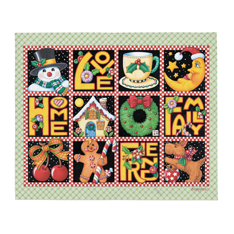 """Christmas Love Home Family Friend"" Throw Blanket"
