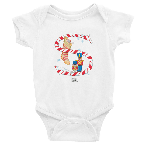 "A Merry Little Christmas ""Letter S"" Infant Bodysuit"