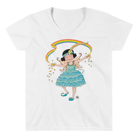 """Rainbow Fairy Gold"" Women's V-Neck Shirt"