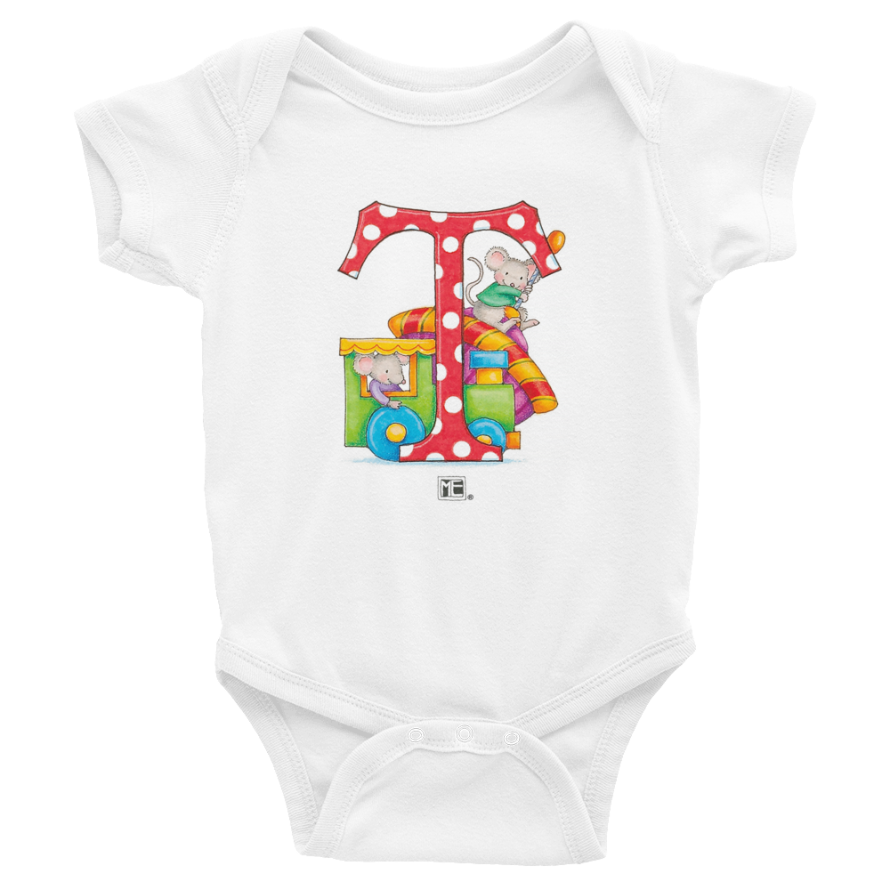 "A Merry Little Christmas ""Letter T"" Infant Bodysuit"