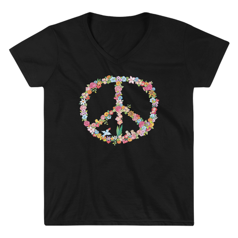 """Floral Peace"" Women's V-Neck Shirt"