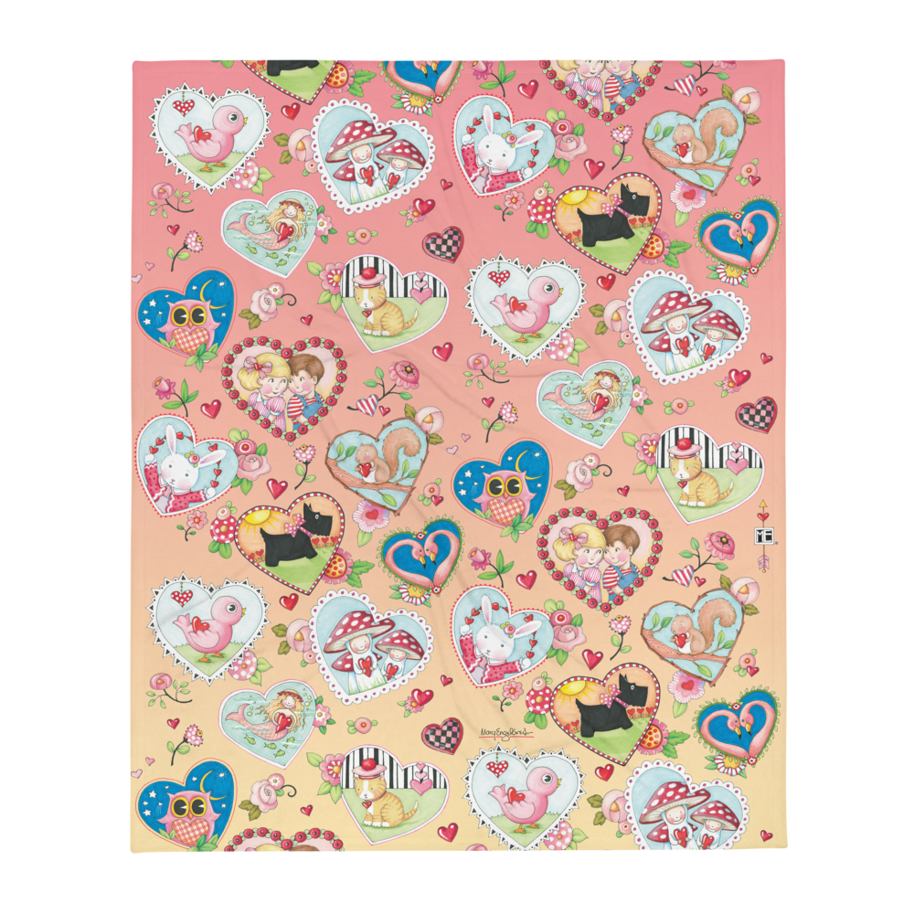 """Artsy Hearts"" Throw Blanket"