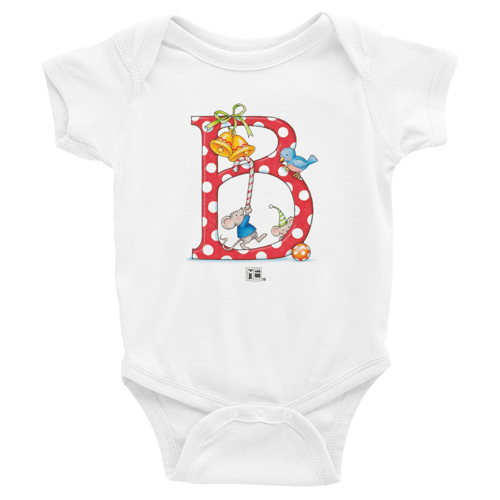 "A Merry Little Christmas ""Letter B"" Infant Bodysuit"