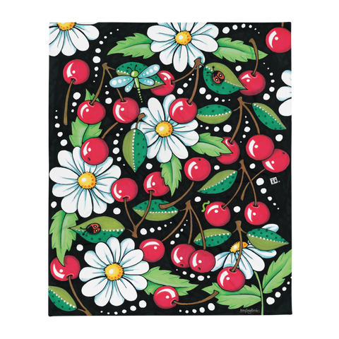 """Cherry Daisy"" Throw Blanket"