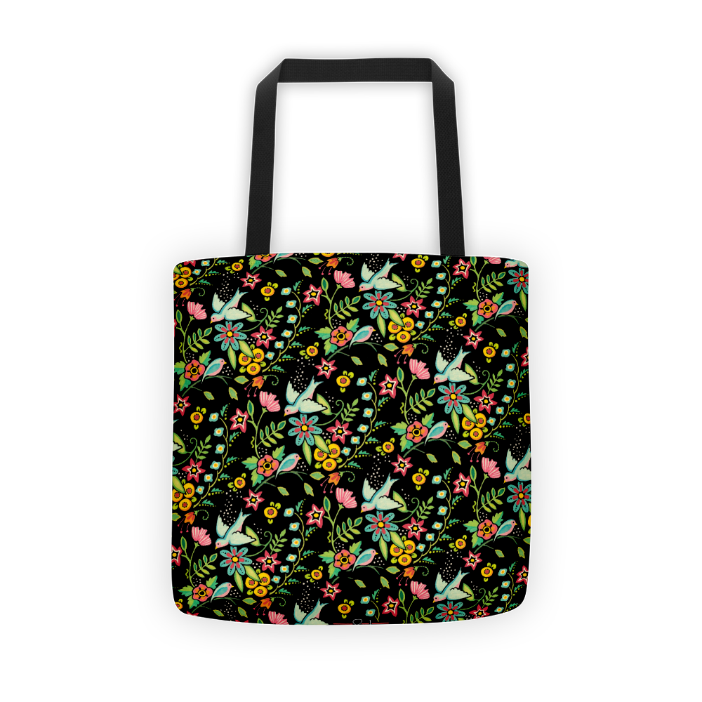 Birds Amidst Flowers Tote Bag