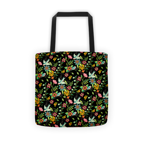 """Birds Amidst Flowers"" Tote Bag"