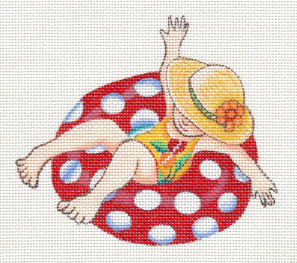 Needlepoint Canvas: Red Inner Tube Lady