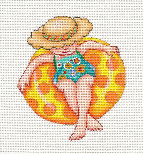 Needlepoint Canvas: Yellow Inner Tube Lady