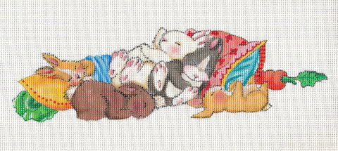 Needlepoint Canvas: Sleeping Bunnies