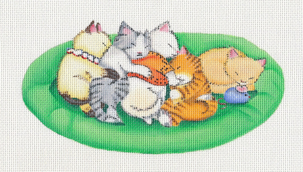 Needlepoint Canvas: Sleeping Kitties
