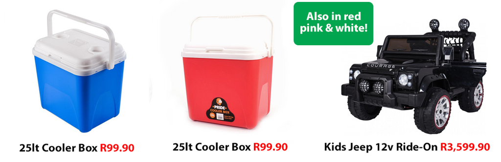 25lt Cooler Boxes and Kids Jeep Ride-On 12v