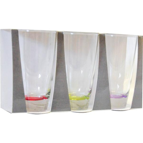3pcs MULTI COL WATER GLASS
